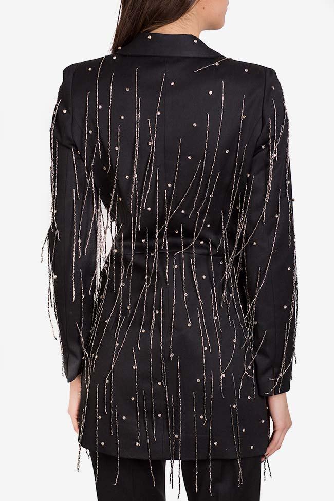 Neagra embellished fringed crepe satin oversized blazer VIGO image 2
