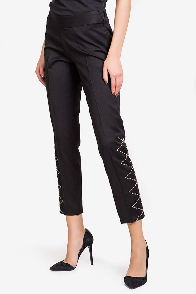 Pantalon en crêpe avec applications de cristaux VIGO image 0