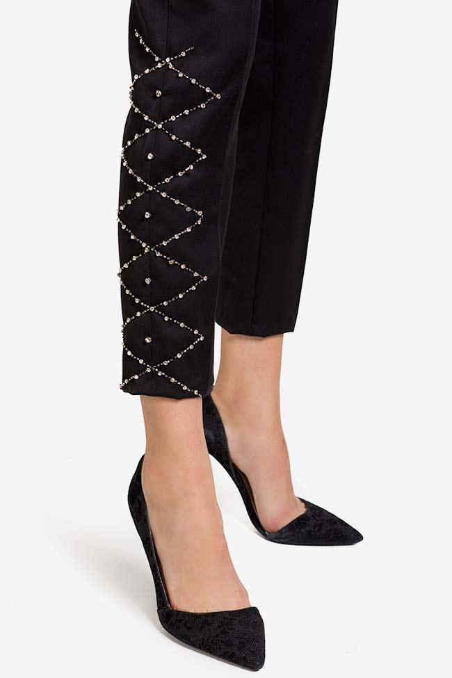 Pantalon en crêpe avec applications de cristaux VIGO image 3