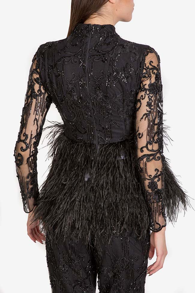 Embellished lace feather-trimmed top VIGO image 2