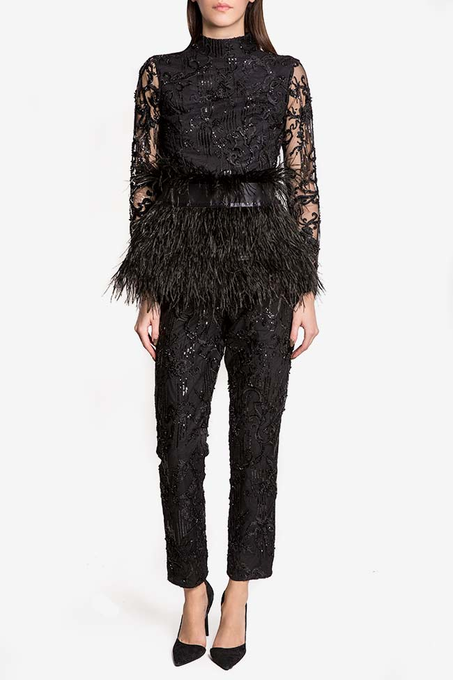 Sequin embellished lace pants VIGO image 1