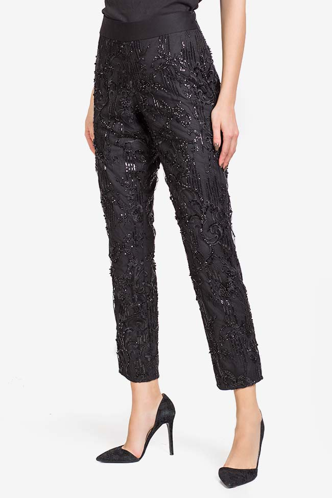Sequin embellished lace pants VIGO image 0