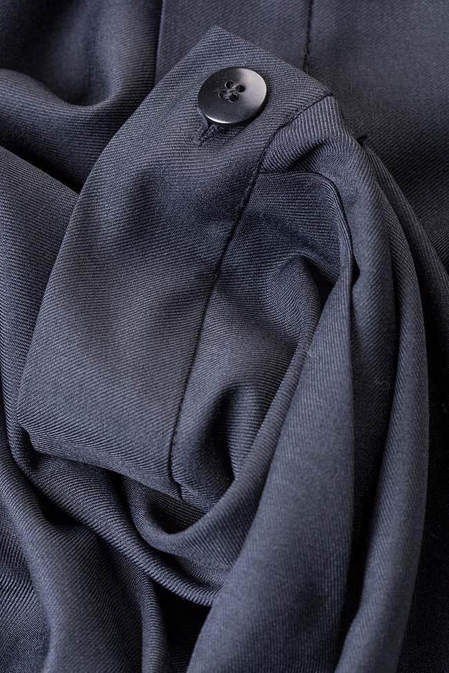 Pantaloni scurti din stofa din amestec de lana cu volane Lena Criveanu imagine 4