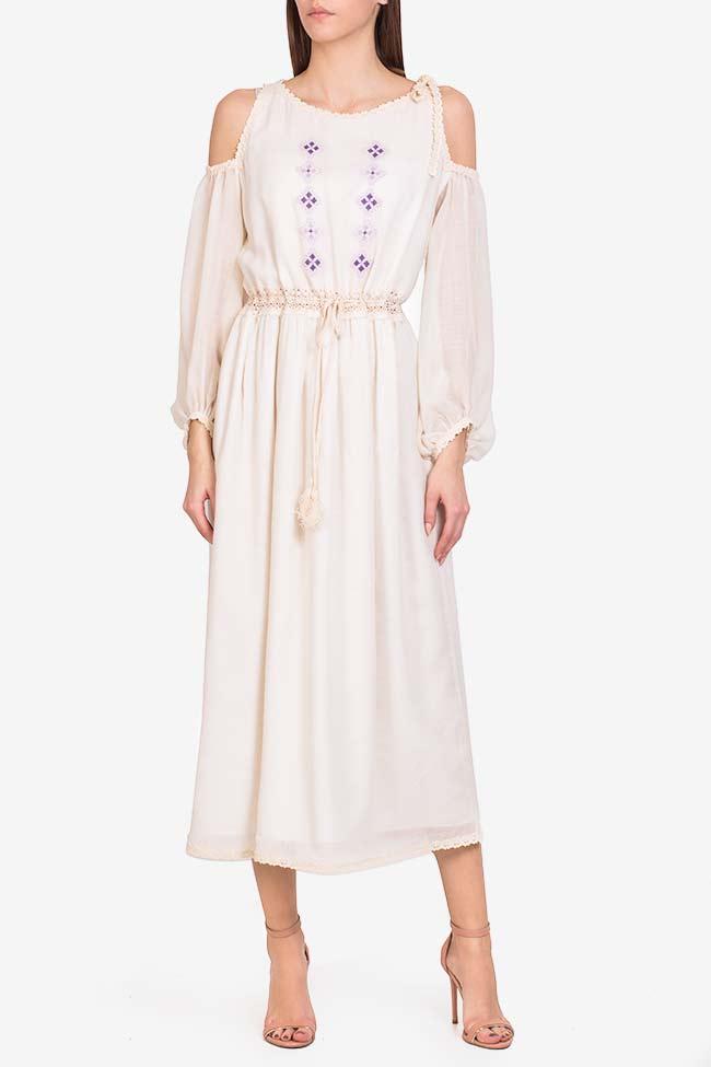 Robe en laine mérinos brodée à épaules dénudées Izabela Mandoiu image 1