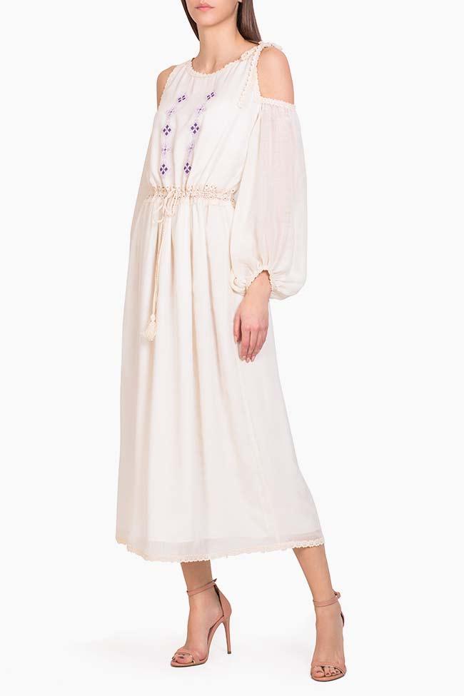 Robe en laine mérinos brodée à épaules dénudées Izabela Mandoiu image 0