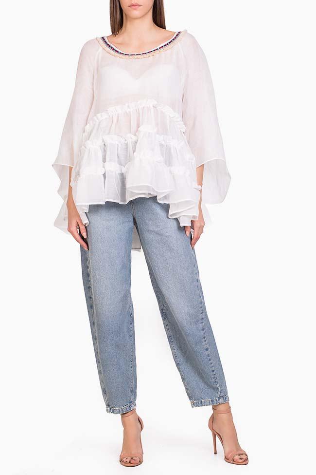 Bluza din in cu volane suprapuse Izabela Mandoiu imagine 1