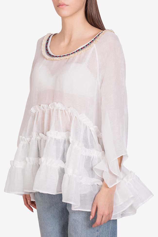 Bluza din in cu volane suprapuse Izabela Mandoiu imagine 0