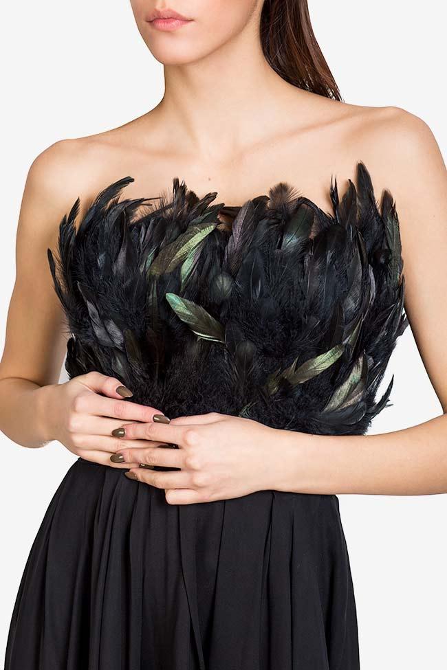 Rochie din voal cu insertii din pene naturale Jane VIGO imagine 3