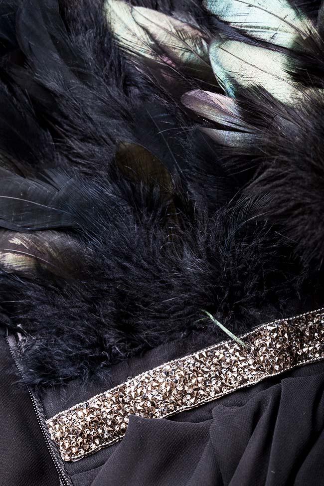Rochie din voal cu insertii din pene naturale Jane VIGO imagine 4
