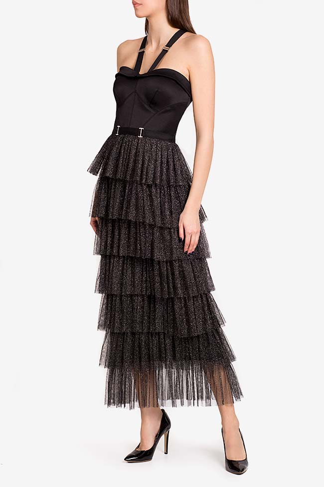 Graciela ruffled metallic tulle satin midi dress Ramona Belciu image 0