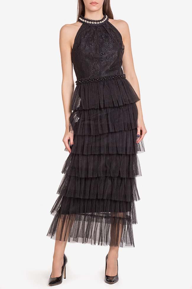 Scarlett embellished ruffled lace tulle midi dress Ramona Belciu image 1