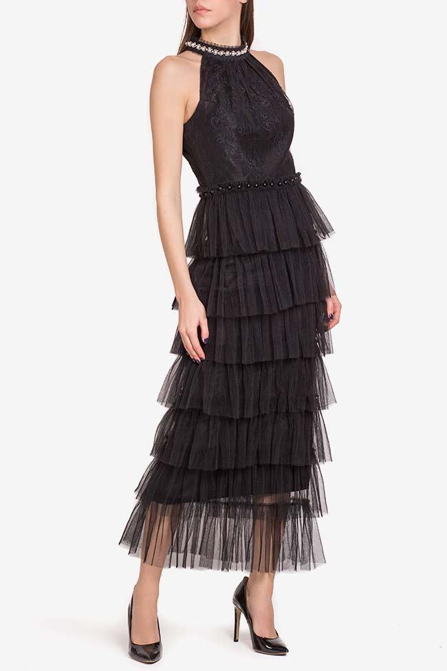 Scarlett embellished ruffled lace tulle midi dress Ramona Belciu image 0