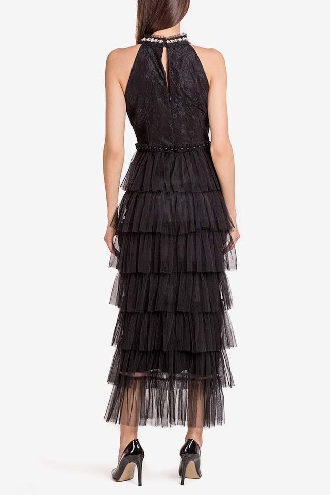 Scarlett embellished ruffled lace tulle midi dress Ramona Belciu image 2