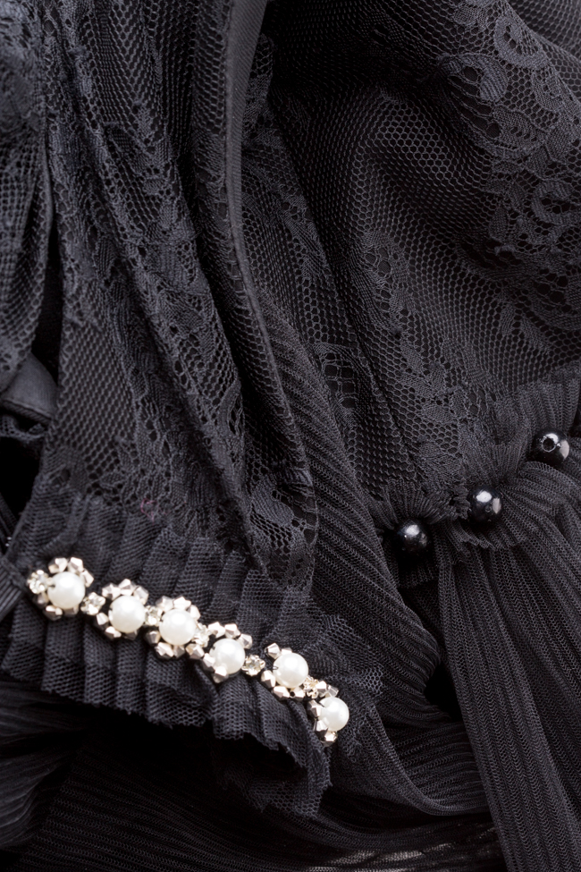 Scarlett embellished ruffled lace tulle midi dress Ramona Belciu image 4