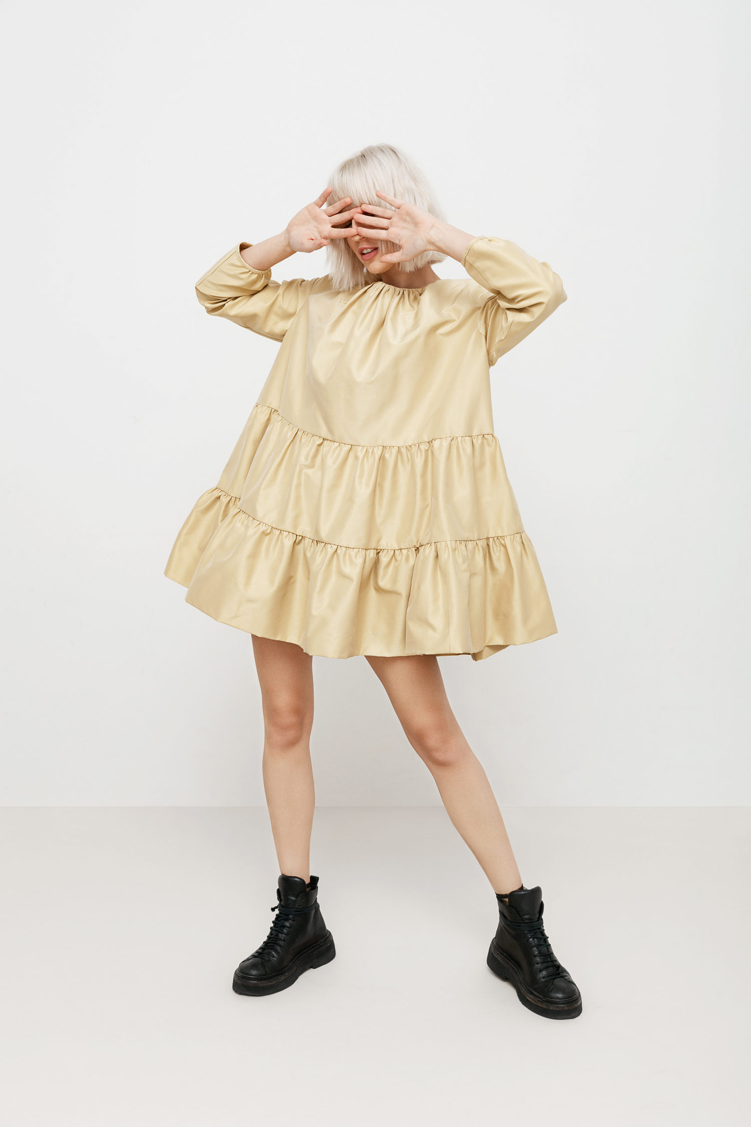 Robe mini en taffetas Golden Girl I Love Parlor image 4