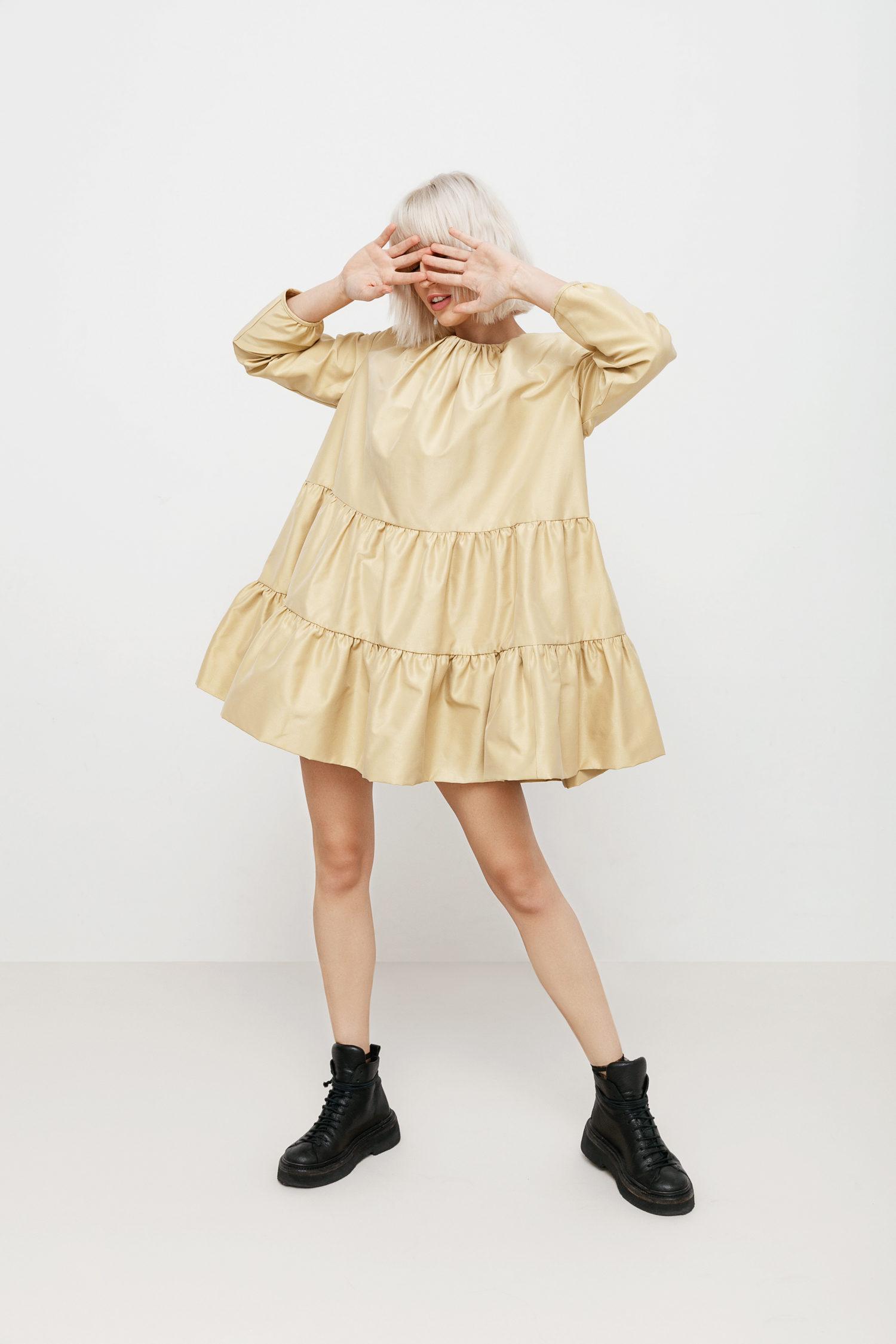 Golden Girl taffeta mini dress I Love Parlor image 4