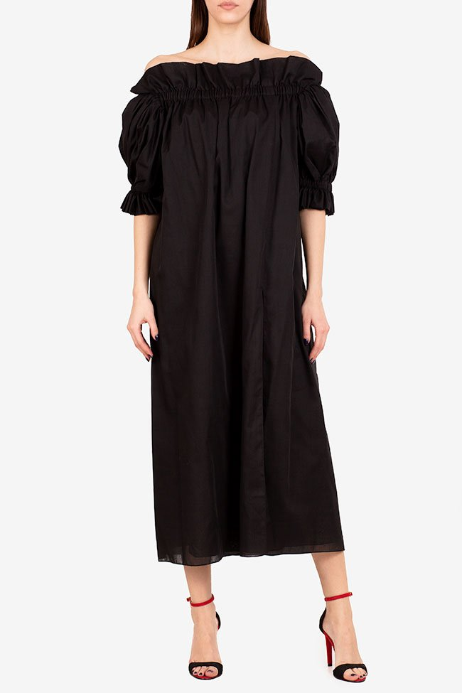 Annie off-the-shoulder ruffled linen midi dress I Love Parlor image 1