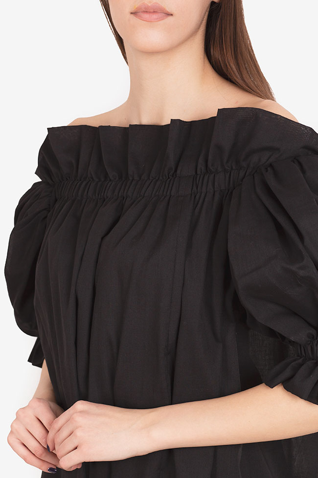 Annie off-the-shoulder ruffled linen midi dress I Love Parlor image 3