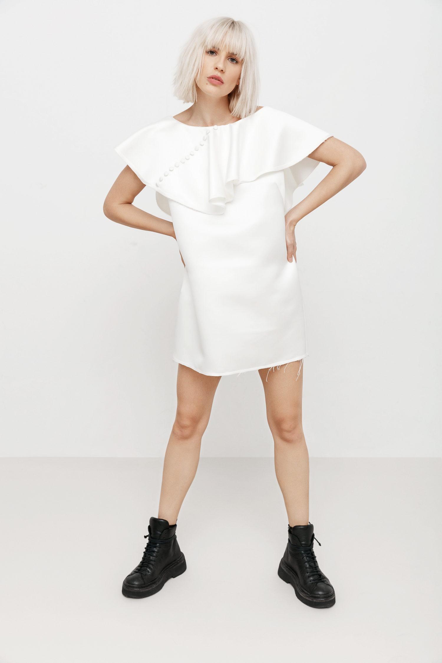 Vanilla tulle-paneled mini dress I Love Parlor image 4