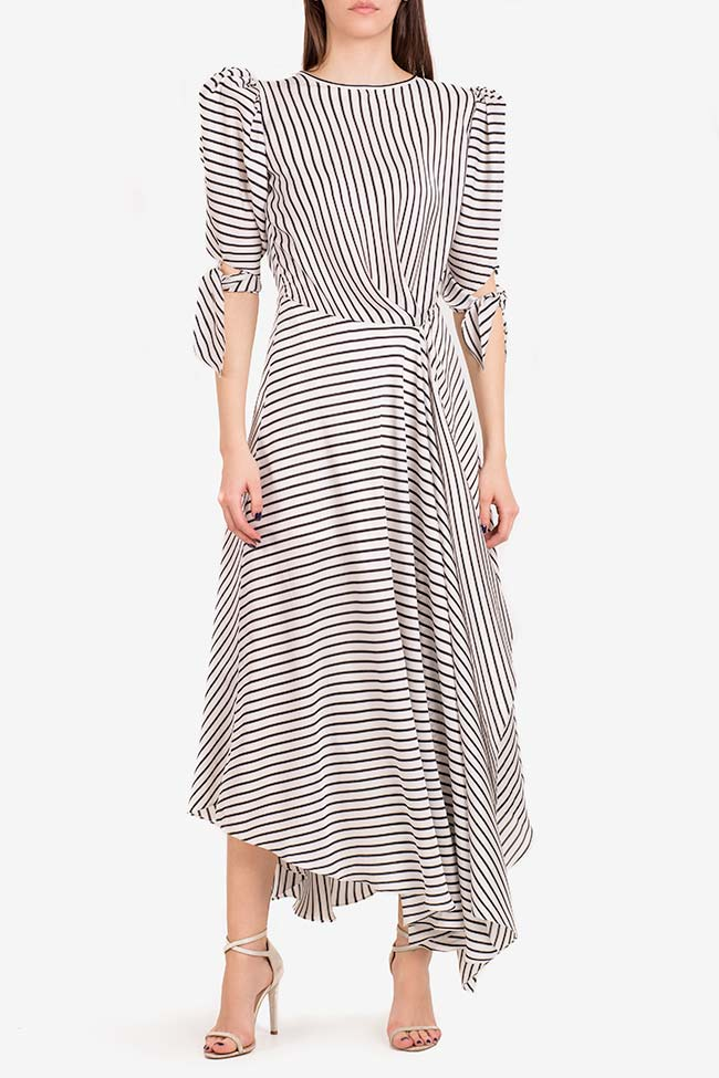 Gloria tie-detailed striped satin dress I Love Parlor image 1