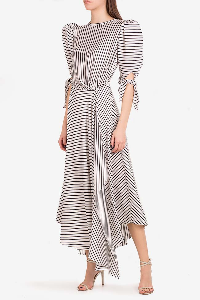 Gloria tie-detailed striped satin dress I Love Parlor image 0