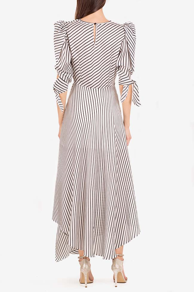 Gloria tie-detailed striped satin dress I Love Parlor image 2