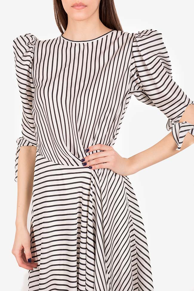 Gloria tie-detailed striped satin dress I Love Parlor image 3