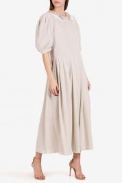 I Love Parlor Robe midi en lamé de coton avec col brodé à la main
