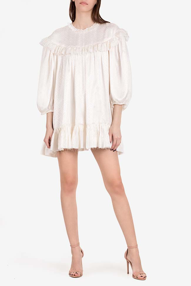 Sweetheart ruffled silk jaquard mini dress I Love Parlor image 1