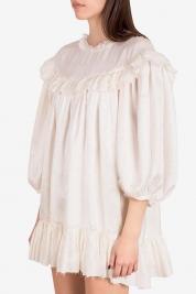 I Love Parlor Robe mini en Jacquard de soie avec volants Sweetheart