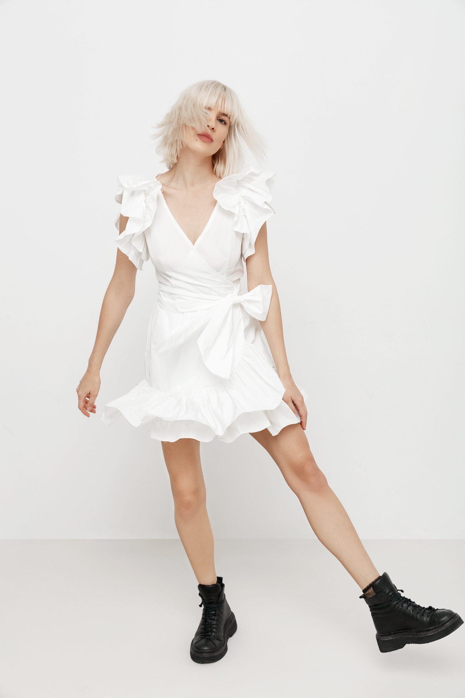 Ruffled mini taffeta wrap dress Marie I Love Parlor image 4
