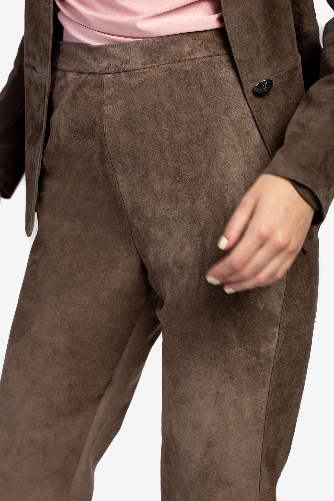 Pantaloni din piele intoarsa Acob a Porter imagine 3