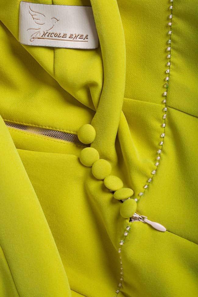 Robe asymétrique en crêpe Green Retro Nicole Enea image 4