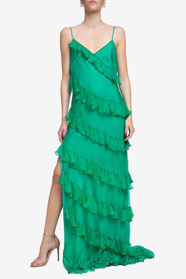 Robe verte en soie avec volants Mirela Diaconu  image 0