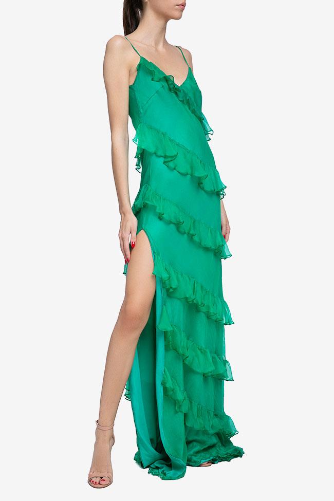 Robe verte en soie avec volants Mirela Diaconu  image 1