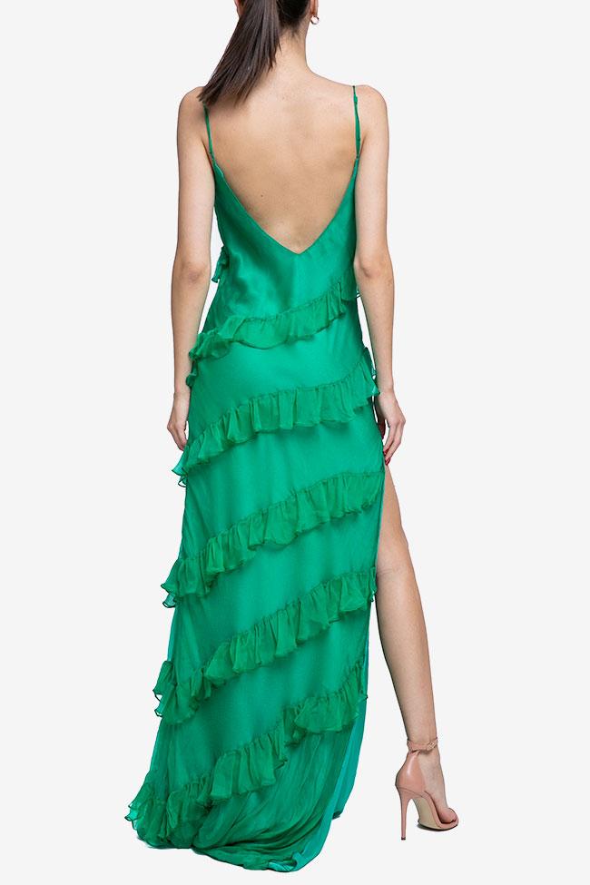 Robe verte en soie avec volants Mirela Diaconu  image 2
