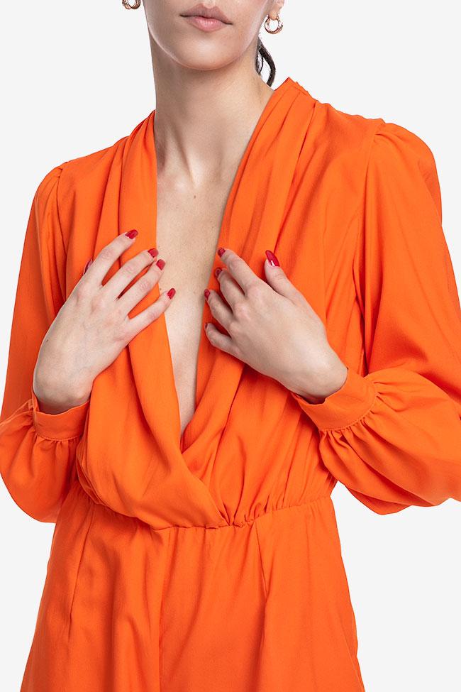 Salopeta portocalie din matase Mirela Diaconu  imagine 3