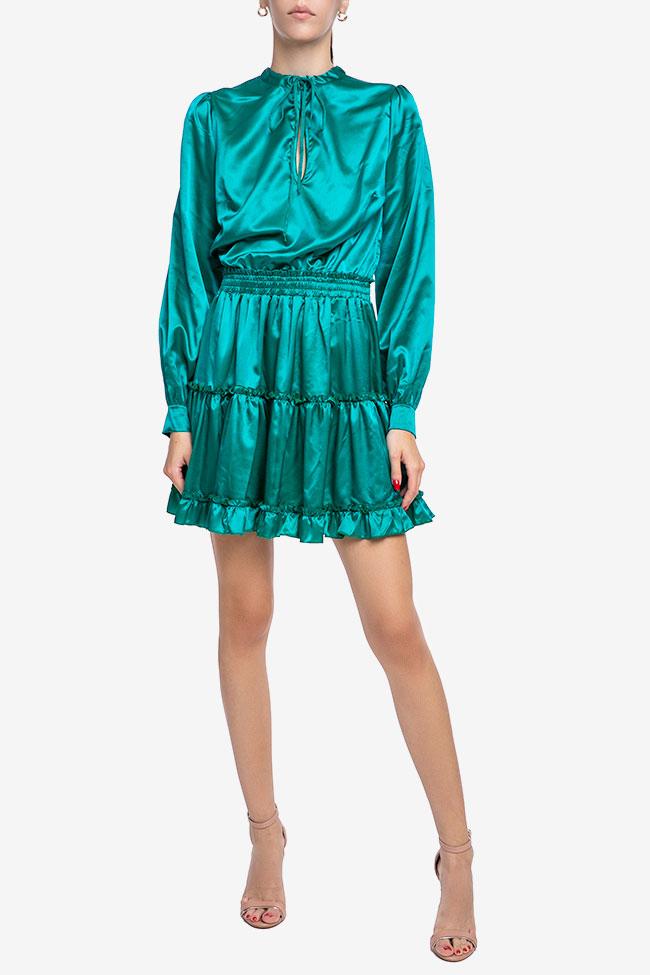 Rochie verde smarald din matase Mirela Diaconu  imagine 0