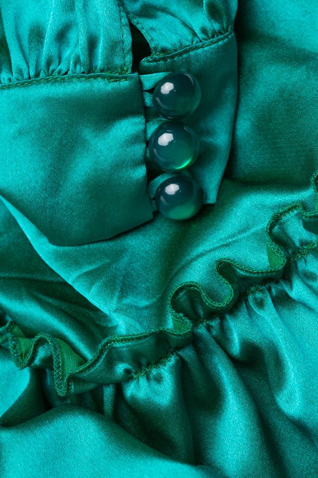 Rochie verde smarald din matase Mirela Diaconu  imagine 4