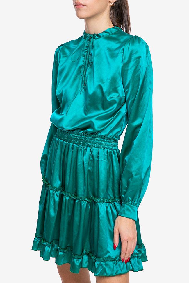Rochie verde smarald din matase Mirela Diaconu  imagine 1