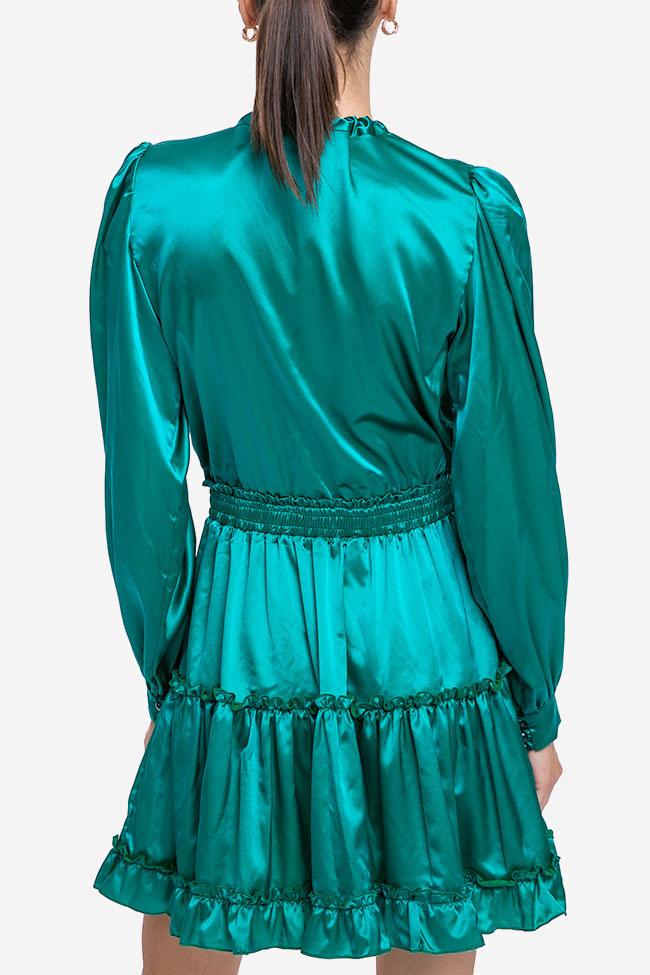 Rochie verde smarald din matase Mirela Diaconu  imagine 2