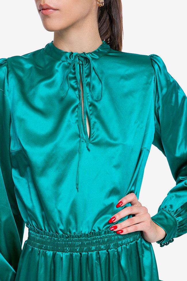 Rochie verde smarald din matase Mirela Diaconu  imagine 3