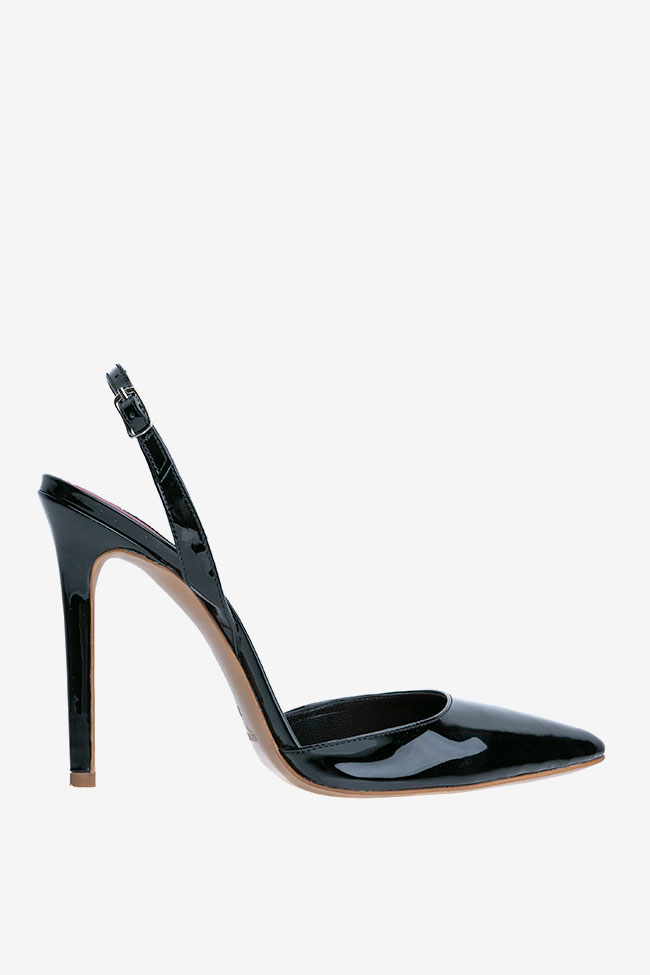 Pantofi decupati la spate din piele lacuita Ginissima imagine 0