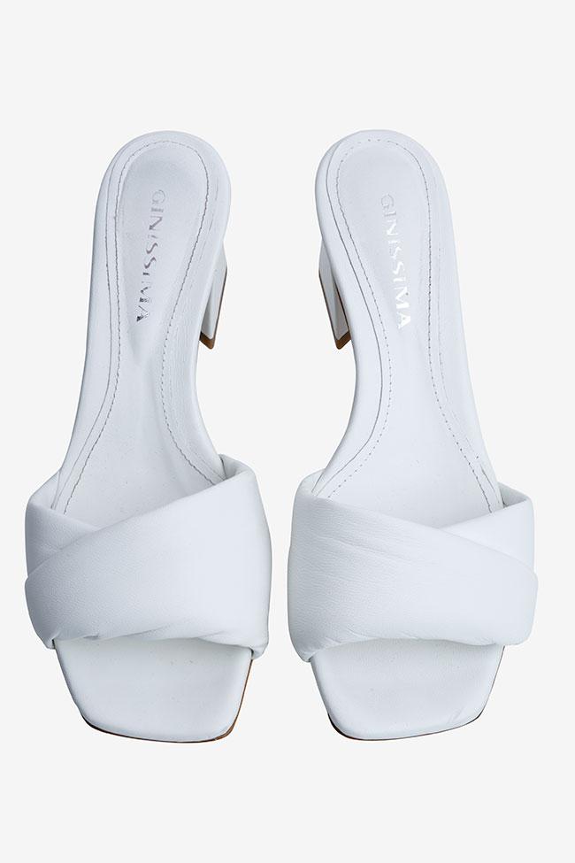Papuci albi din piele Ginissima imagine 2