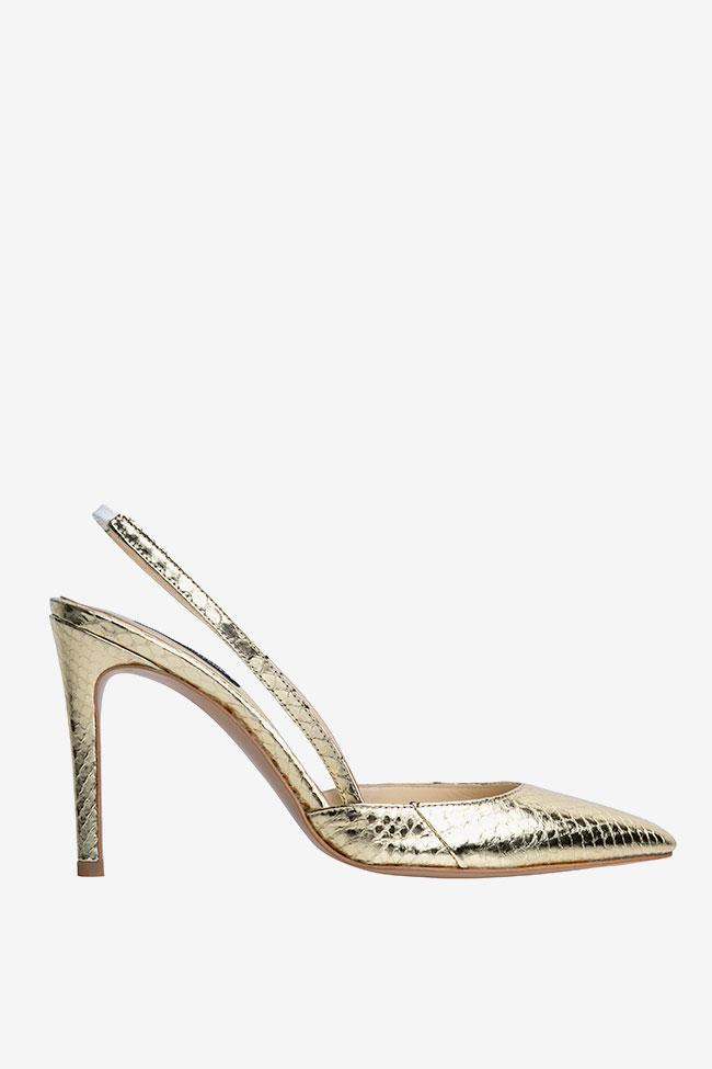 Pantofi decupati din piele de sarpe de apa aurii Ginissima imagine 0