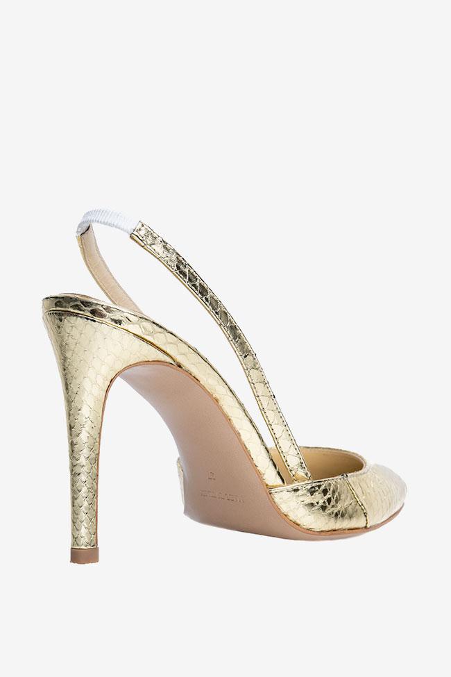 Pantofi decupati din piele de sarpe de apa aurii Ginissima imagine 1