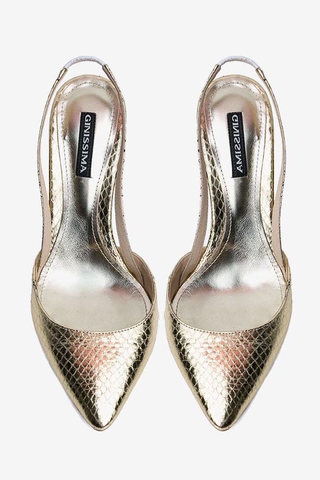 Pantofi decupati din piele de sarpe de apa aurii Ginissima imagine 2