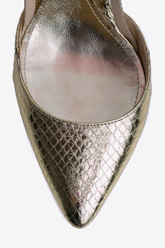 Pantofi decupati din piele de sarpe de apa aurii Ginissima imagine 3
