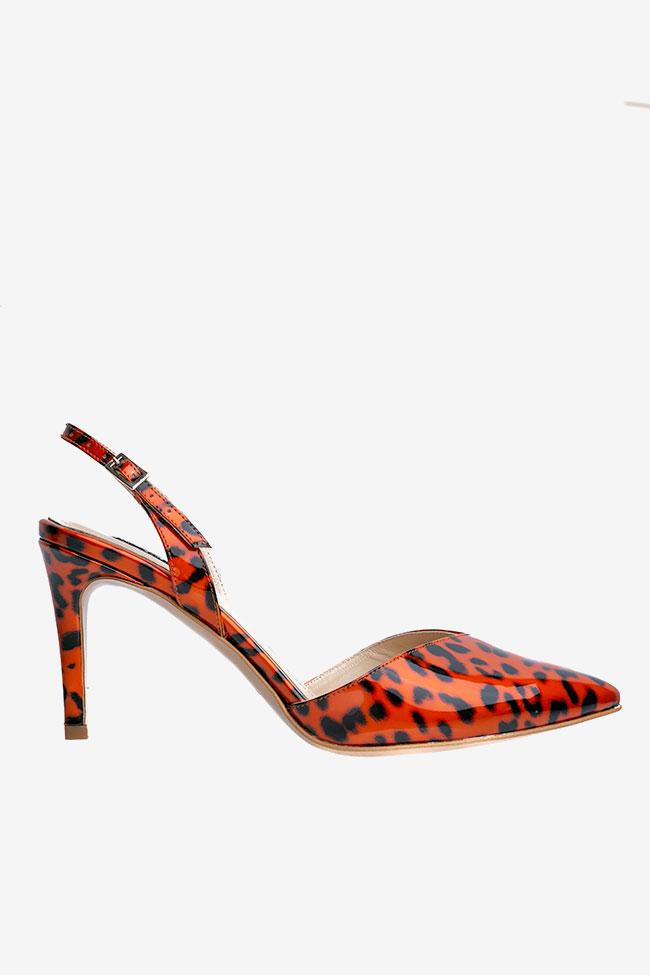 Pantofi cu varf ascutit din piele lacuita animal print Ginissima imagine 0