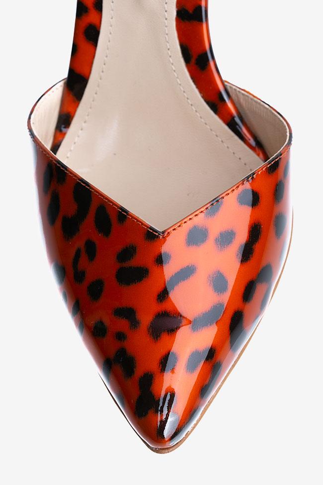 Pantofi cu varf ascutit din piele lacuita animal print Ginissima imagine 3